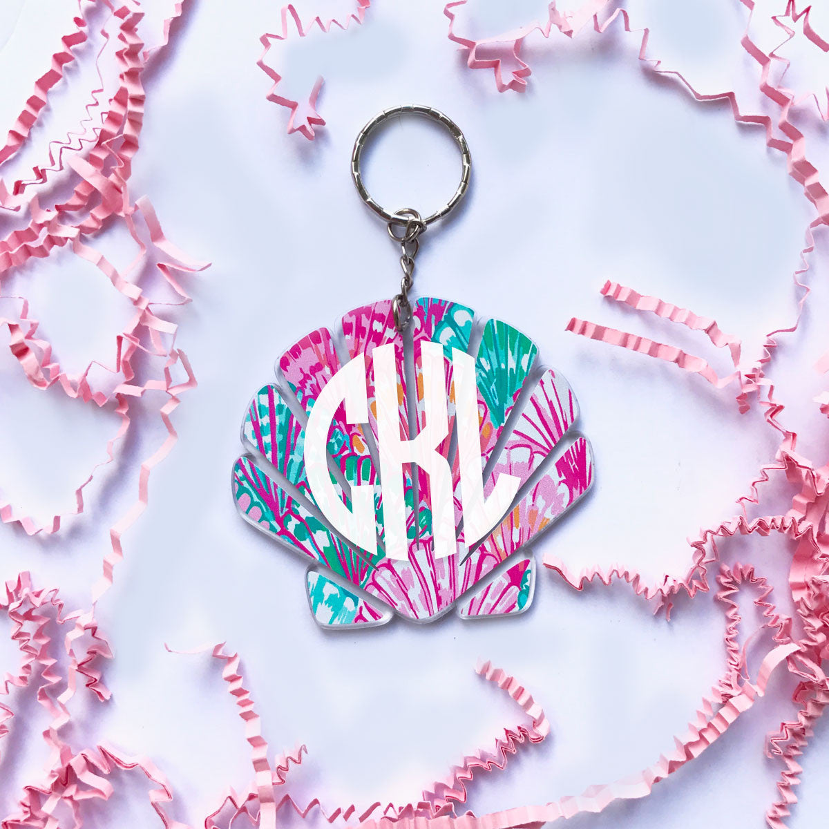 Lilly Mermaid Shell Monogram Keychain