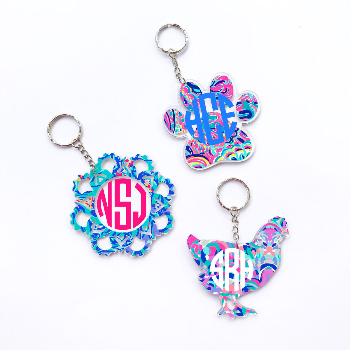 Lilly Chicken Monogram Keychain