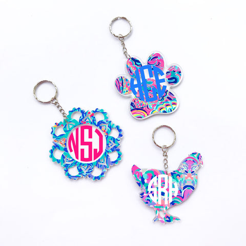 Lilly Mandala Flower Monogram Keychain