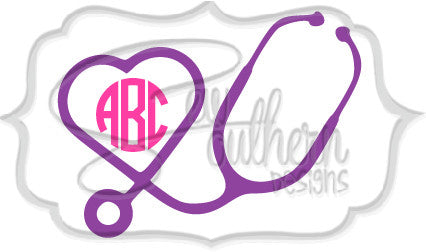 Stethoscope Heart Big Monogram