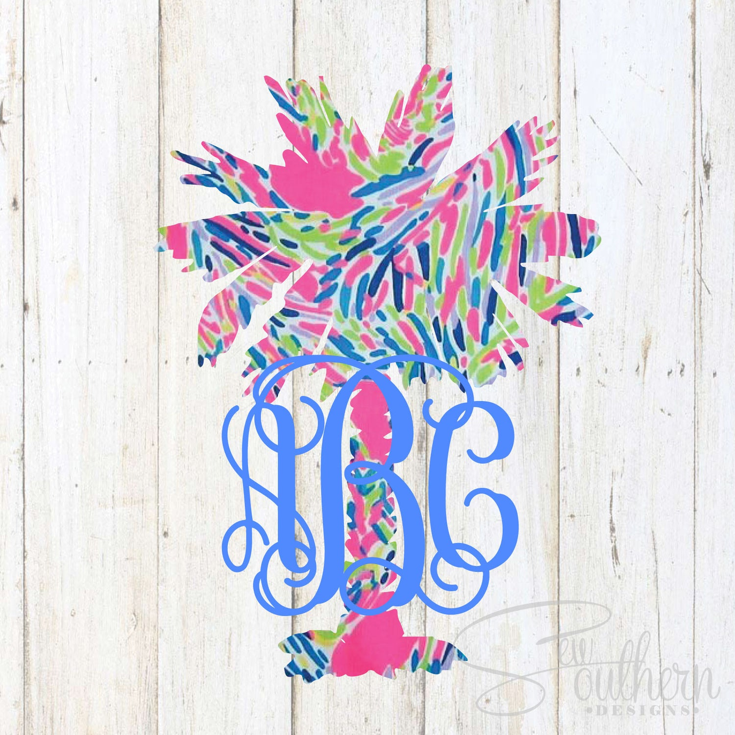 Palmetto Tree Monogram Decal