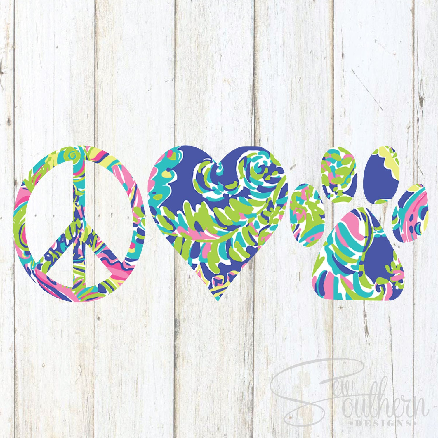 Lilly Peace Love Paw Decal
