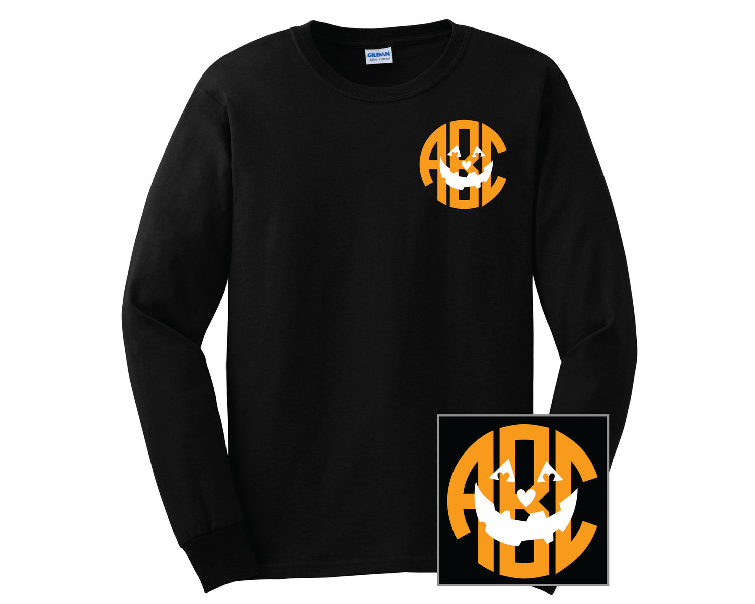 Pumpkin Face Monogram T-Shirts - LONG SLEEVE