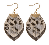 Layered Leopard Leather Earrings - White/Black