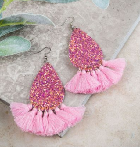 Center of Attention Earrings - Pink