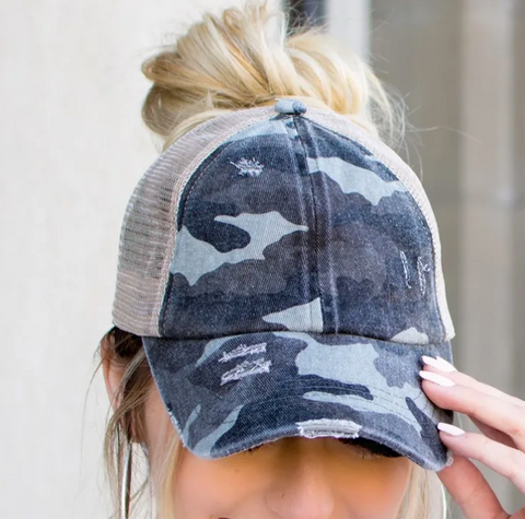 CC Distressed Ponytail Baseball Cap - Camo