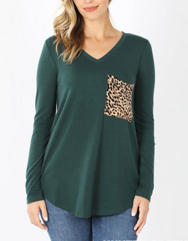 On Your Side Leopard Pocket - Top