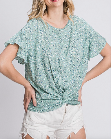 What You Mean Floral Faux Knot Top