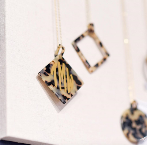 Square Shape Acrylic Necklace - Tortoise