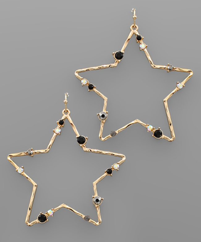 Crystal Star Earrings - Gold