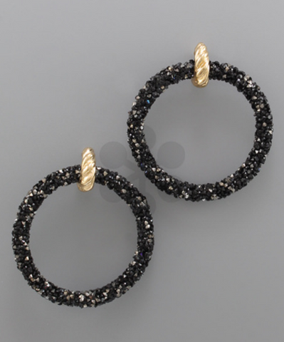 Glitter Circle Earrings - Black