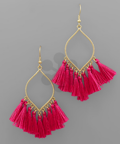 Dangle Tassel Earrings - Pink