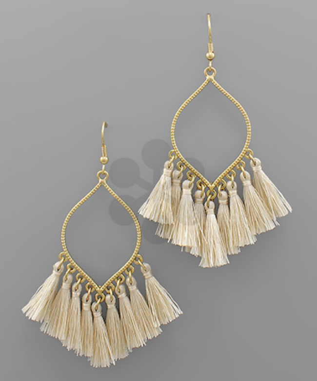 Dangle Tassel Earrings - Ivory