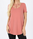 Short Sleeve Basic Web Criss Cross - Top - Rose
