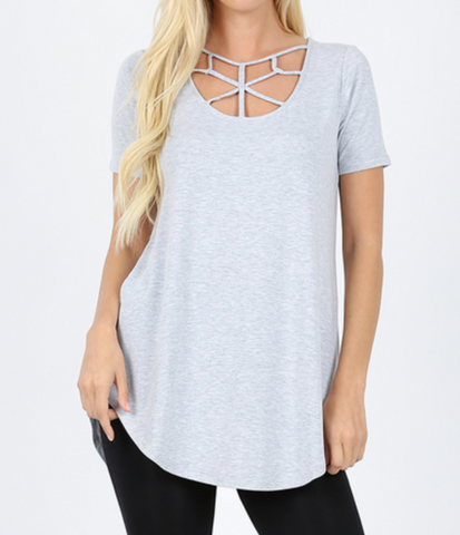 Short Sleeve Basic Web Criss Cross - Top - H. Grey