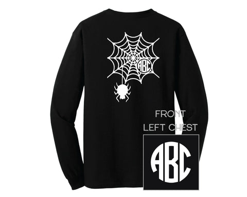 Black Halloween Spider Web Monogram Shirt - LONG SLEEVE