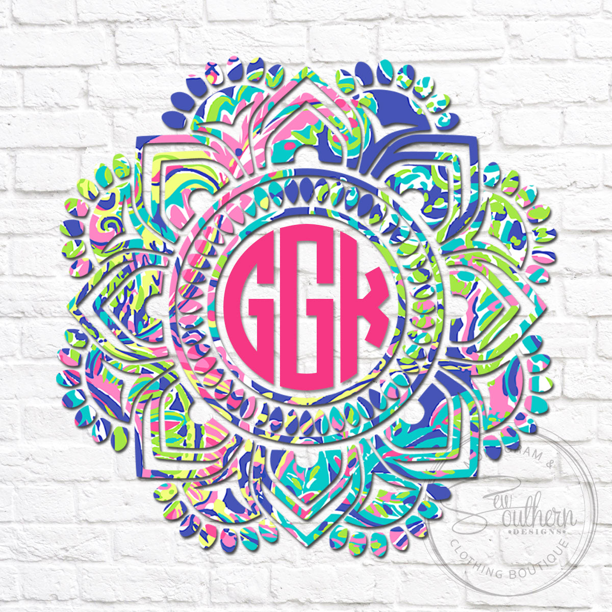 Lilly Spotted Mandala Monogram Decal