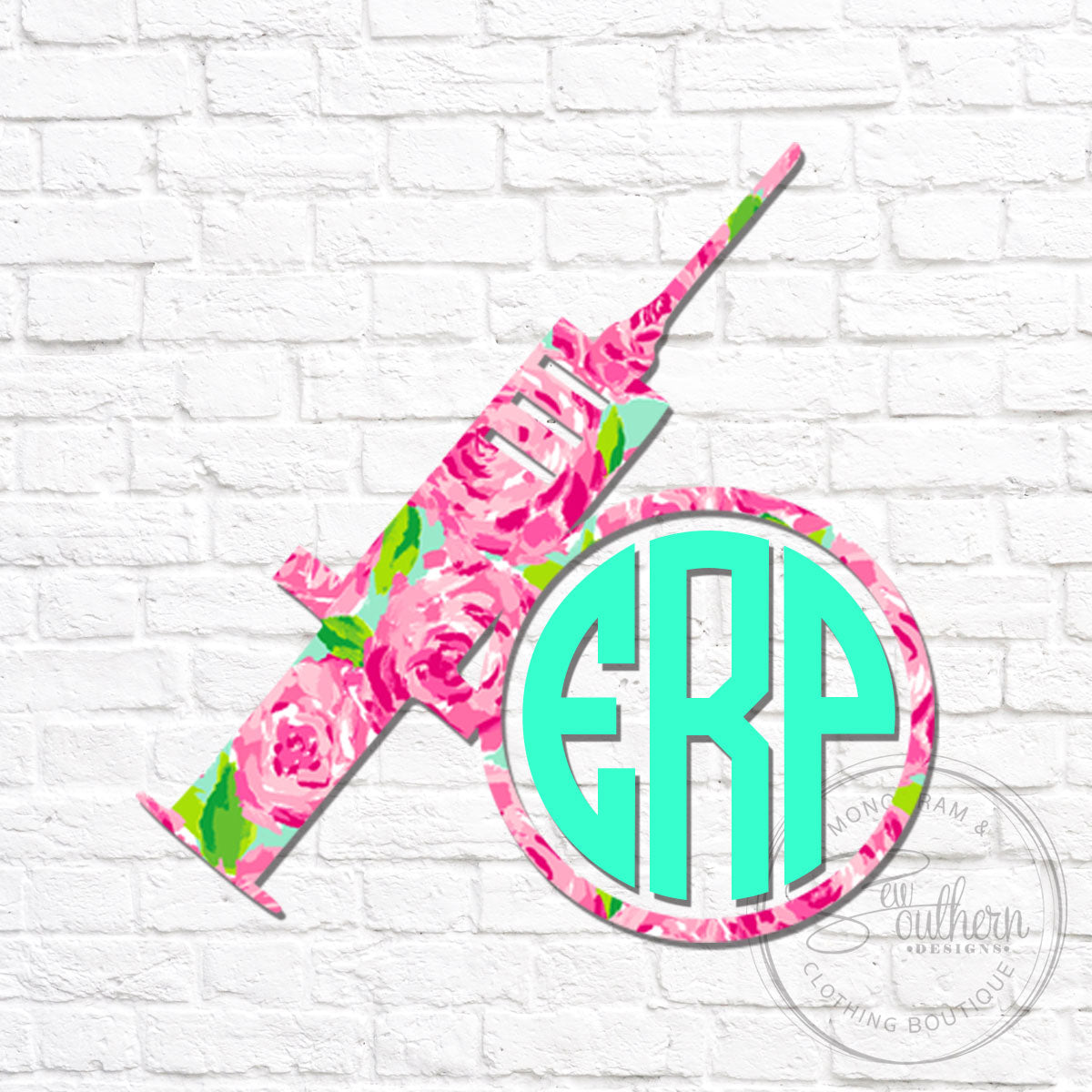 Lilly Syringe Phlebotomy Monogram Decal