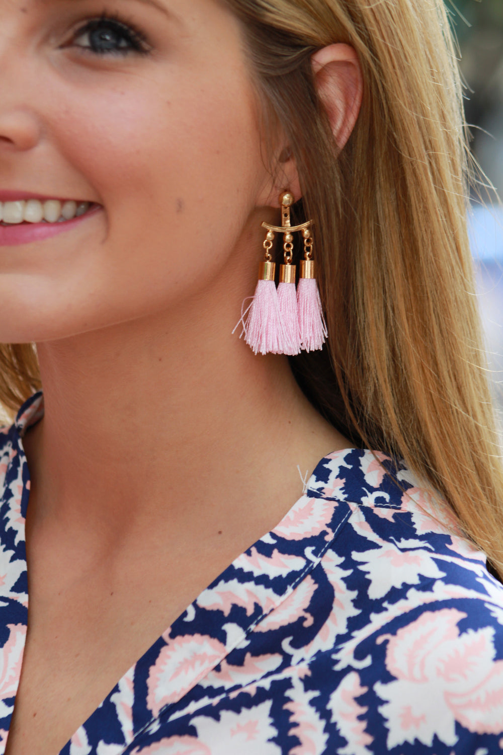 Fancy Tassel Earring - Light Pink