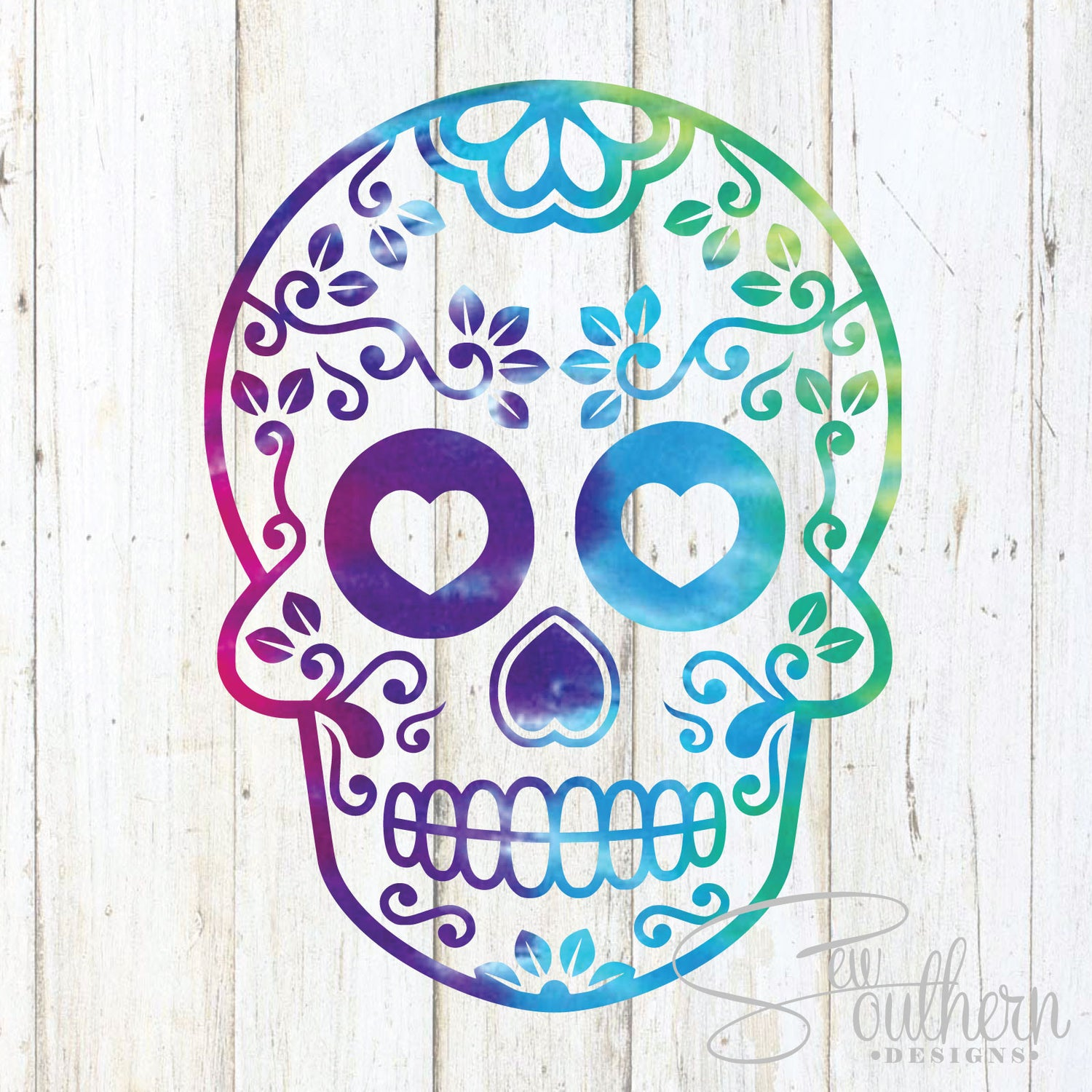 Tie Dye Sugar Skull Decal