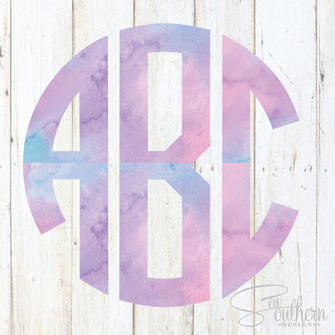 Watercolor Monogram Decal