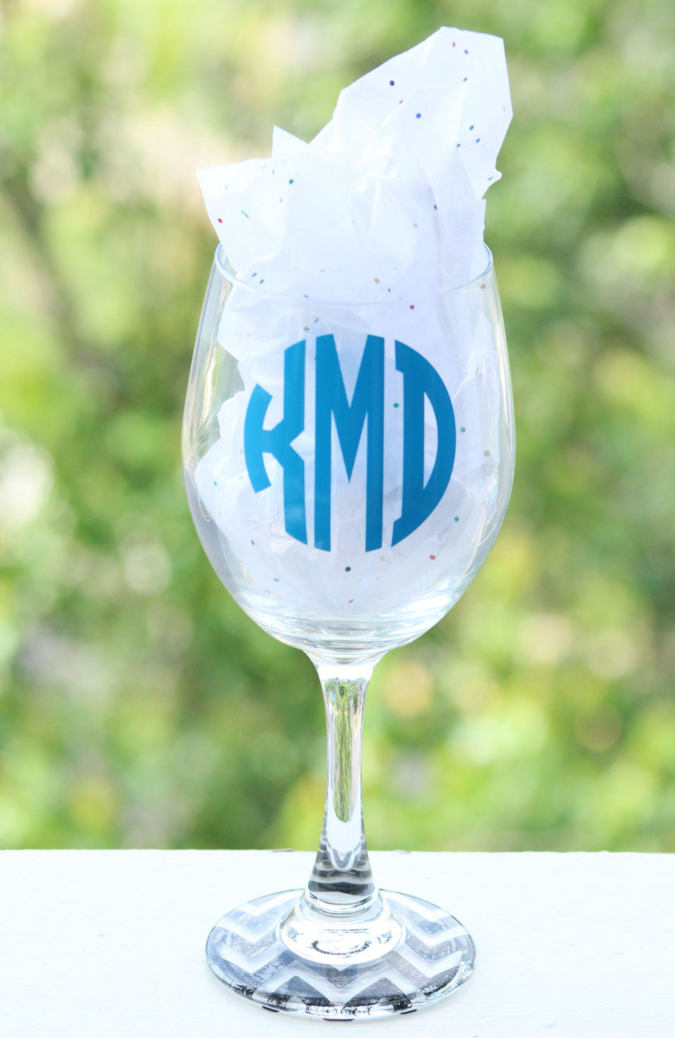 Monogram Wine Glass with Chevron