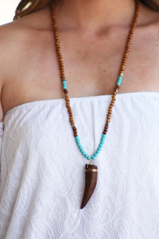Beaded Wooden Tooth Necklace
