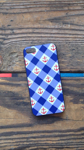 Gingham Anchor iPhone Case