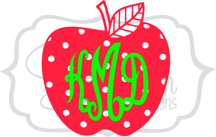 Polka Dot Apple Monogram
