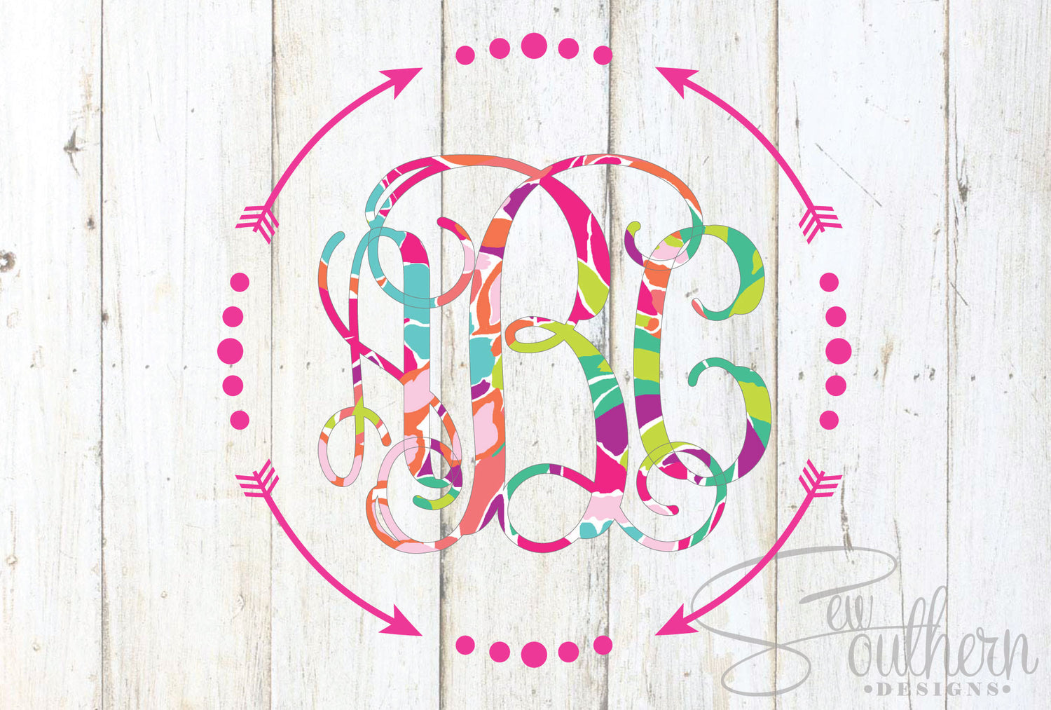 Lilly Arrow Frame Single Color Monogram Decal