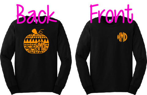 Aztec Pumpkin Monogram T-Shirt - LONG SLEEVE