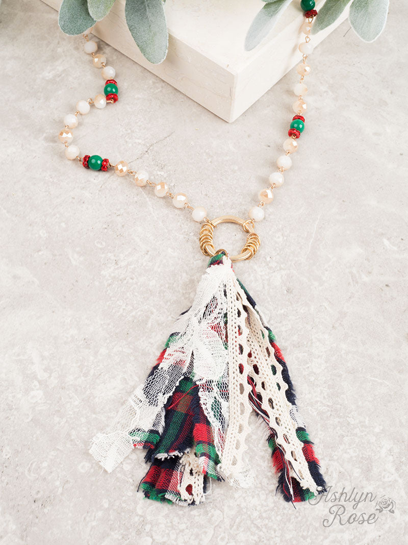 Season's Greetings Christmas Fabric Tassel Necklace