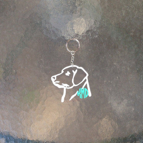 Monogram Lab/Dog Keychain