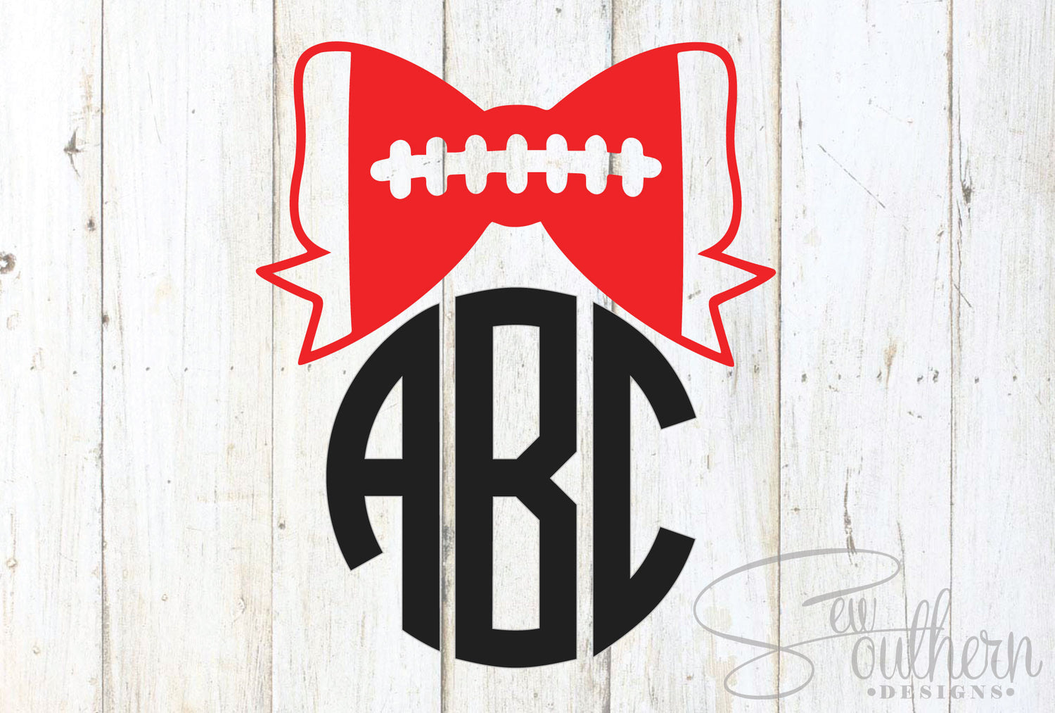 Football Bow Monogram Sew Southern Designs