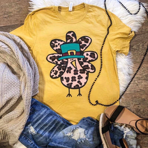 Leopard Turkey - Mustard - Graphic T-Shirt