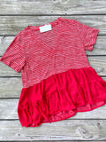 Counting On You Stripe - Top - Red