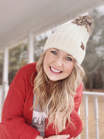 Cable Knit Fur Ball - CC Beanie