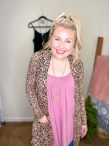 Run The Wild Cardigan - Leopard