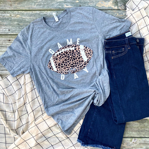 Game Day Leopard - Grey - Graphic T-Shirt
