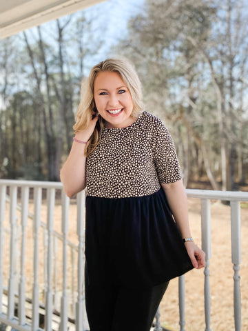 Step Into The Wild Leopard - Top - Black