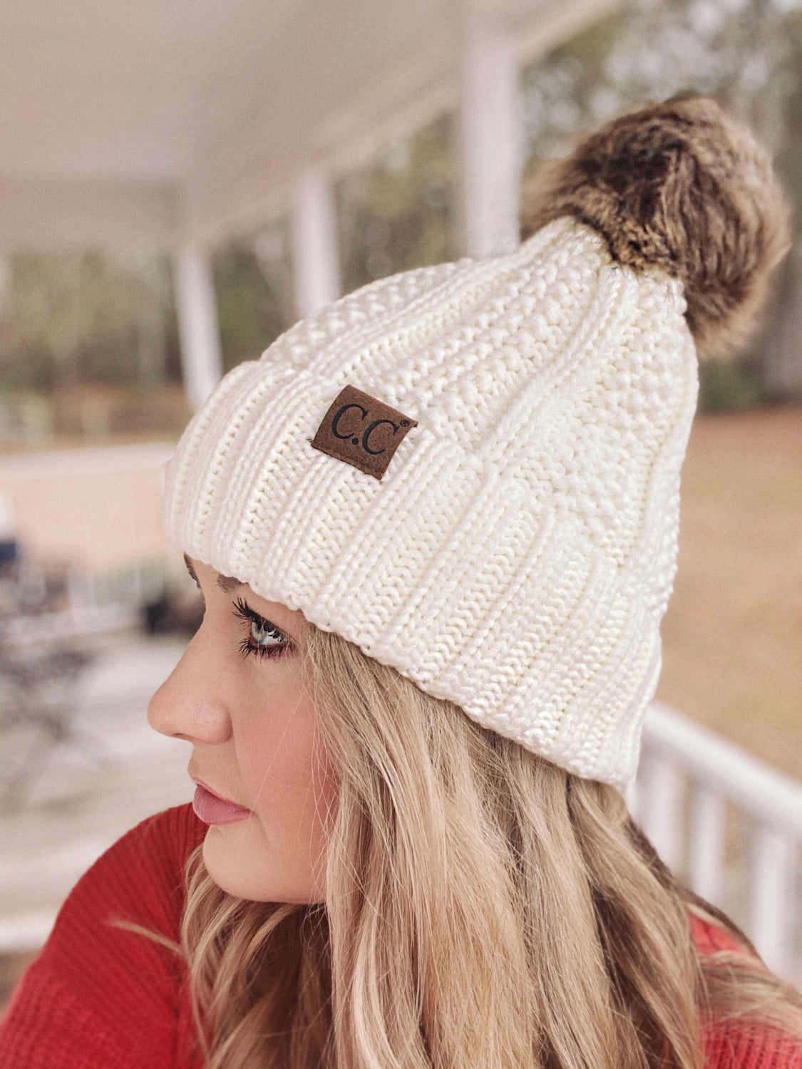Cable Knit Fur Ball Cc Beanie Sew Southern Designs