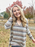 Live Cozy Stripe Top - Grey/Brown