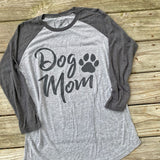 Dog Mom Graphic Shirt - Grey - Raglan