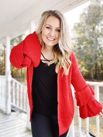 Bring It On Over Ruffle Cardigan - Orange Red