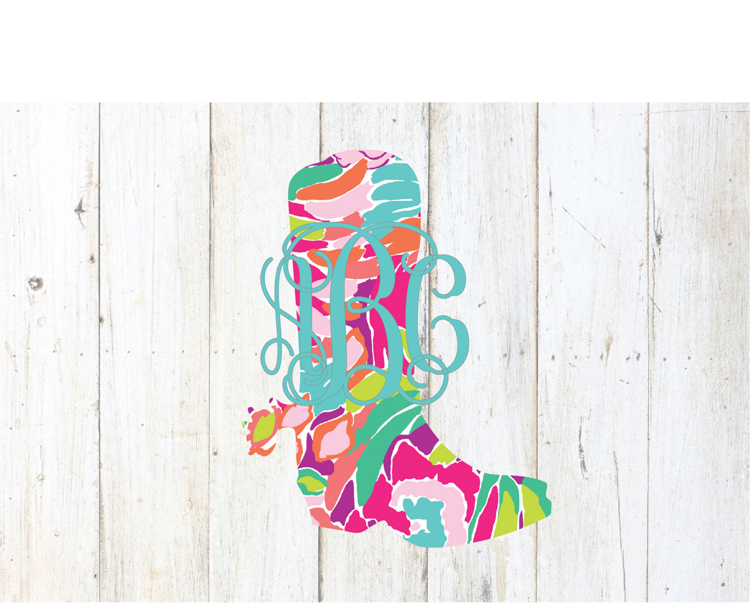 Lilly Cowgirl Boot Monogram Decal