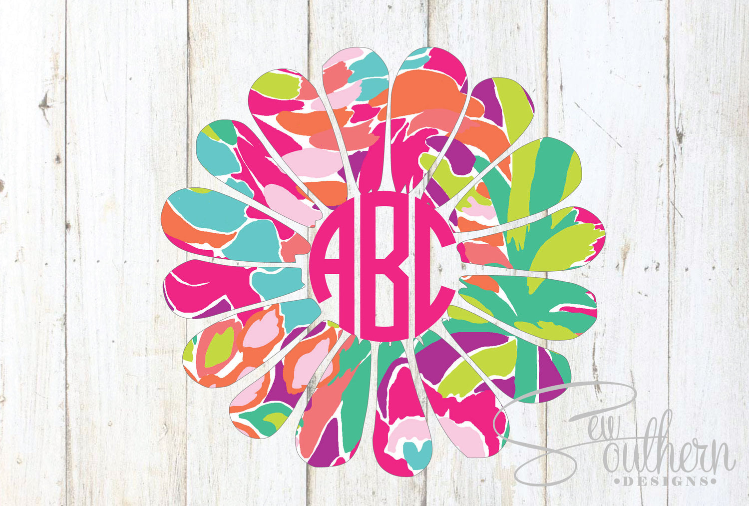 Lilly Daisy Monogram Decal