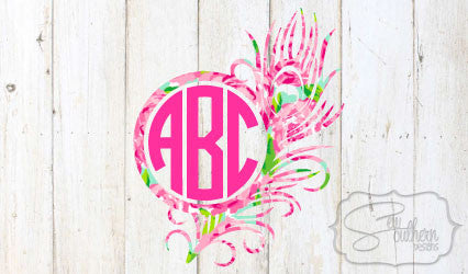 Lilly Feather Monogram Decal