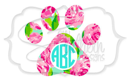 Lilly Paw Print Monogram Decal