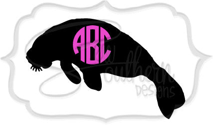 Manatee Monogram Decal