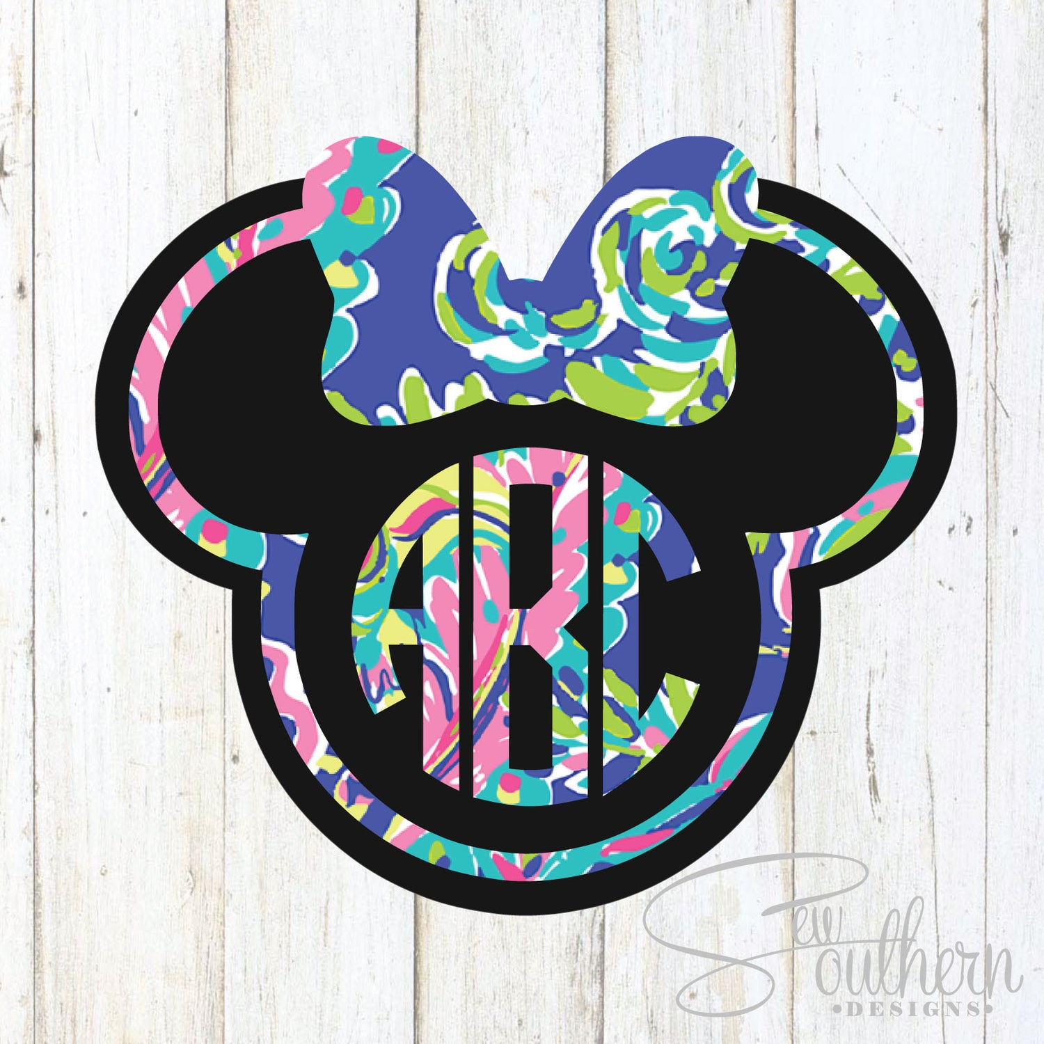 Lilly Minnie Mouse Outline Monogram Decal